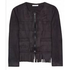 Suede fringe-jacket