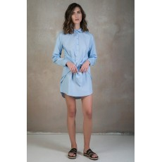 Baby blue tie-waist shirt dress