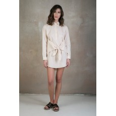 Beige tie-waist shirt dress