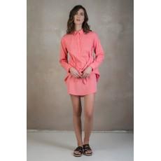 Κοραλ πουκαμισοφορεμα με δεσιμο