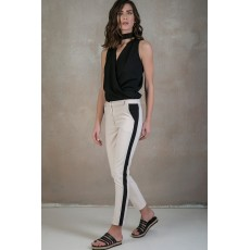Nude cigarette trousers with stripes