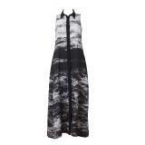 BLACK AEGEAN MAXI SHIRT-DRESS