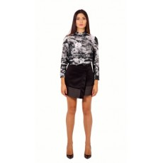 Wrap skirt with leather detail